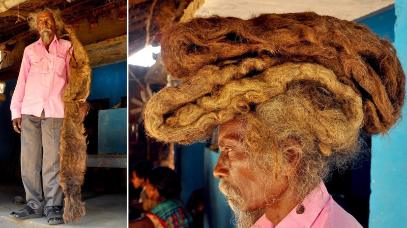 Nie mył włosów przez 40 lat! Ludzie podziwiają to, co znajduje się na jego głowie