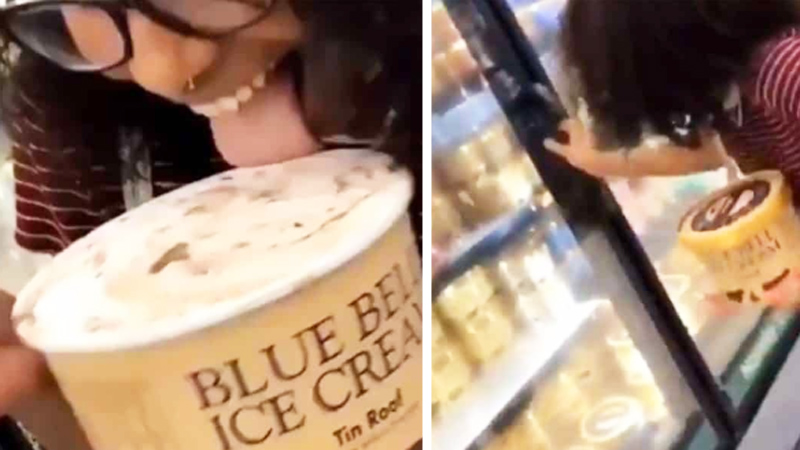 Polizała lody w sklepie i odłożyła je z powrotem do lodówki! Inni zaczynają naśladować jej głupi wybryk