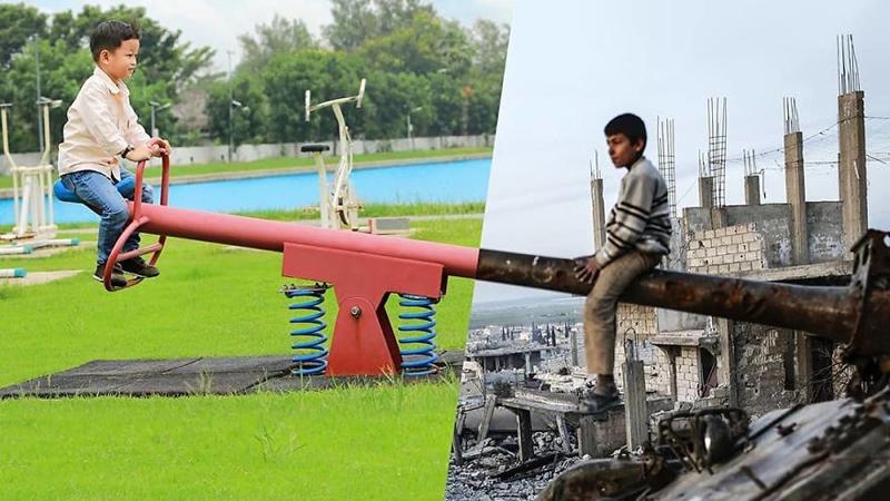 Dwa światy na jednej fotografii. Nowe zdjęcia tureckiego fotografa jeszcze głośniej krzyczą prawdę o tym, co się z nami stało