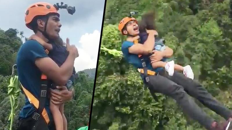 Ojciec bierze w ramiona 2-letnią córeczkę i skacze z mostu. Internauci nie byli dla niego łaskawi