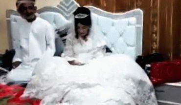80-latek i jego 12-letnia żona zaczynają noc poślubną! Przerażona twarz dziewczynki mówi wszystko