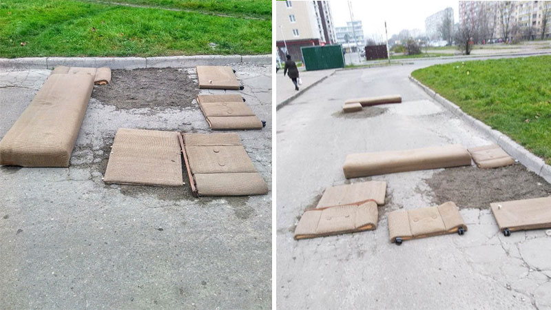 Zdenerwowani mieszkańcy naprawili dziurawą drogę za pomocą kanapy! Efekt jest piorunujący